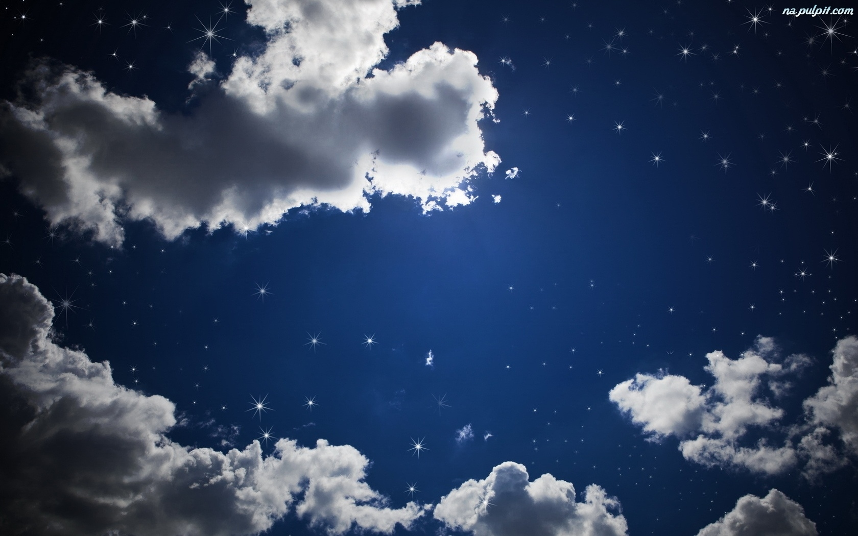 Night Moon Romance Love Stars Sky Clouds Wallpaper: Gwiazdy, Chmury, Niebo Na Pulpit